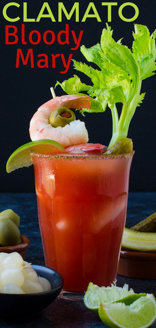 Clamato juice adds a seafood twist to this Bloody Mary recipe, but it's the Bloody Mary garnish that makes it really special! Poached extra large shrimp along with an Old Bay rim make this Clamato Bloody Mary extra special. #bloodymary #bloodymaryrecipe #clamato #brunch #cocktail #alcoholicbeverage #alcohol #vodka #tomatojuice #brunch #brunchcocktail #lime #horseradish #seafood #seafoodbrunch #cocktailrecipe #drinkrecipes #drinks