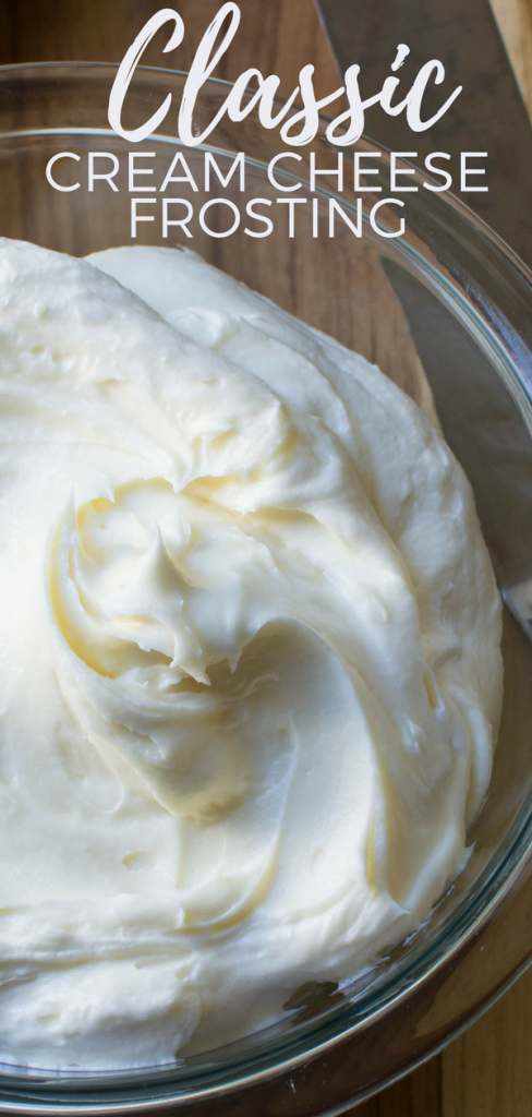 This homemade frosting recipe is as easy as it is delicious. Classic Cream Cheese Frosting starts with butter and cream cheese, sweetened with powdered sugar and a hint of vanilla. This fluffy cream cheese frosting is ideal on cakes or quick breads. #frosting #creamcheese #creamcheesefrosting #homemadefrosting #homemadeicing #icing #butter #powderedsugar #easyfrostingrecipe #frostingforcarrotcake #5ingredients #bestfrostingrecipe #buttercream #homemadebuttercream