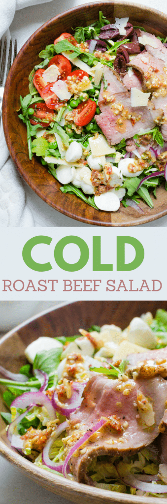 This easy summer salad puts your leftovers to good use. Cold roast beef salad is great for light summer meals & sun-dried tomato vinaigrette is eye-popping. #leftovers #leftoverrecipes #roastbeef #roastbeefsalad #coldbeefsalad #beefsalad #sundriedtomatoes #vinaigrette #tomatovinagrette #mozzarella #peas #arugula #brusselssprouts #leftoverroastbeef #steak #alfrescodining #lightsummermeals #easysummersalad