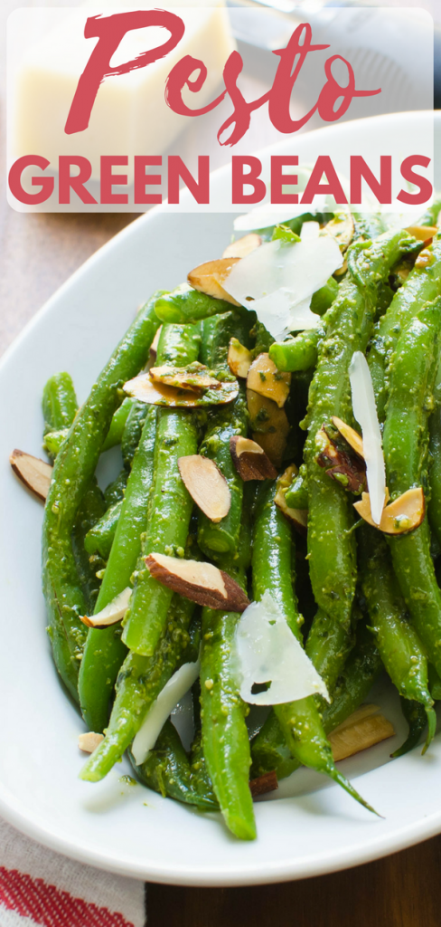 This blanched green beans recipe is an easy Spring side dish with only 5 ingredients. Spring Pesto Green Beans are ready in 10 minutes - perfect for weeknights. These savory, healthy green beans will be a favorite with your family. #greenbeans #pesto #almonds #parmigianoreggiano #parmesan #granapadana #cheese #gratedcheese #basil #olive oil #homemadepesto #blanchedbeans #haricotsvert #sidedish #healthysidedish #fastsidedish #easysidedish #springsidedish #quicksidedish #5ingredientrecipe