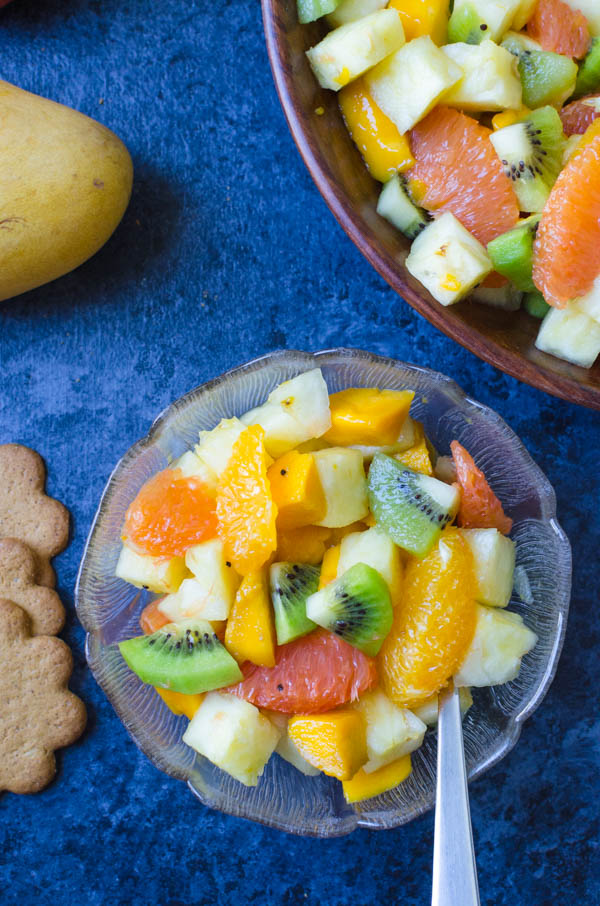 serving Rum Spiked Tropical Fruit Salad