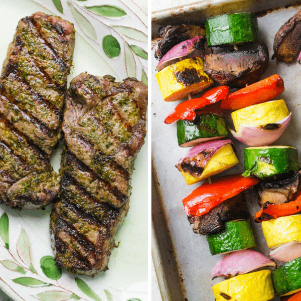 Grilled Chermoula Marinated Strip Steaks and grilled vegetables on a platter.