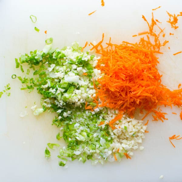 shredded carrot and green onion.