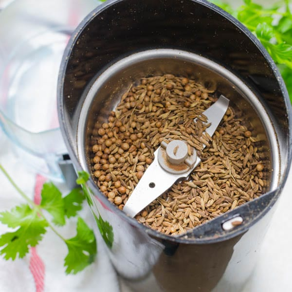 toasted cumin and coriander in a spice grinder.