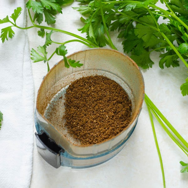 ground spices. and fresh parsley.