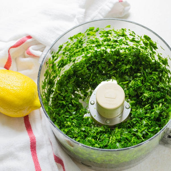 cilantro and parsley chopped in a food processor.