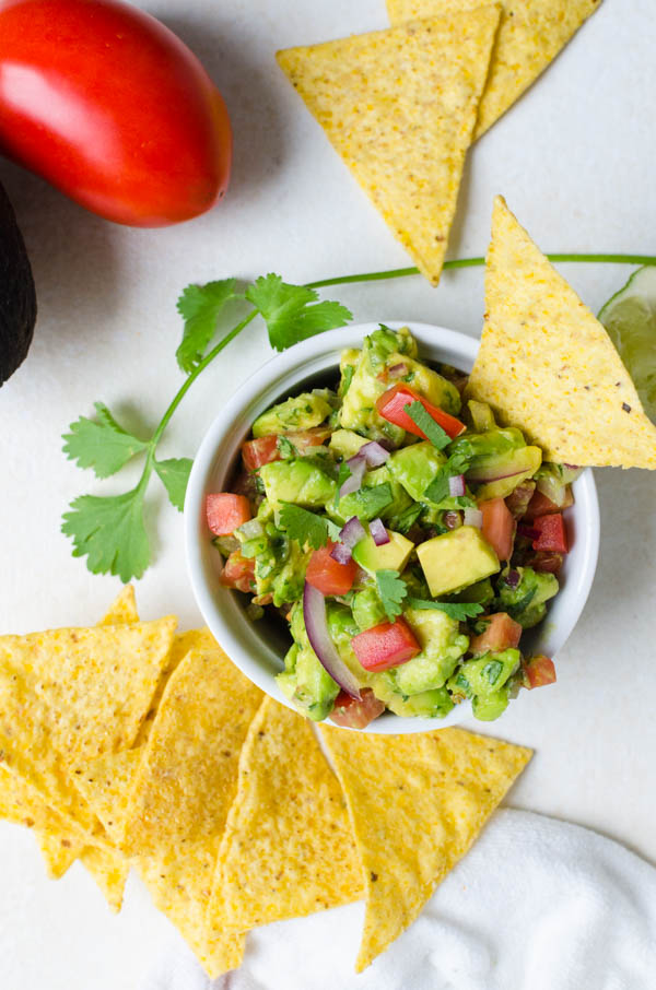 Chunky Guacamole with tortilla chips