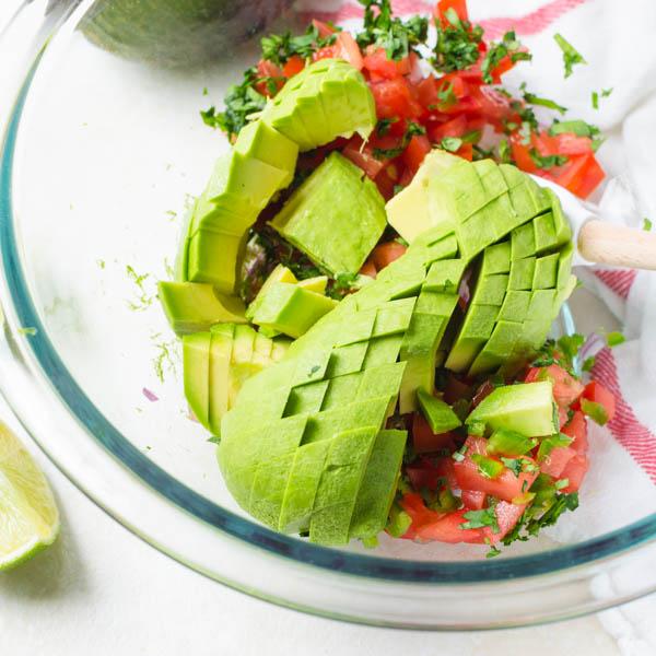 diced avocado for Chunky Guacamole