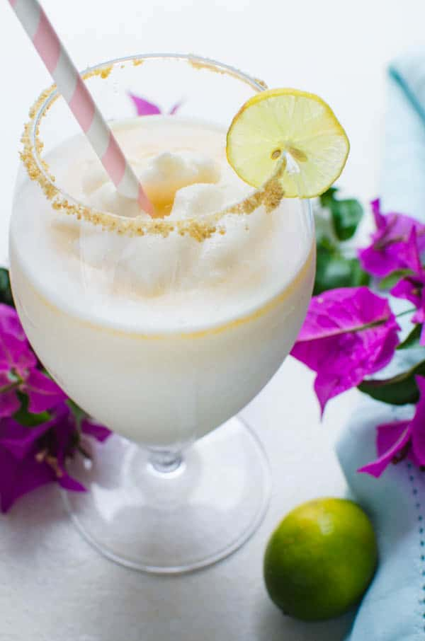 key lime colada with a lime garnish.