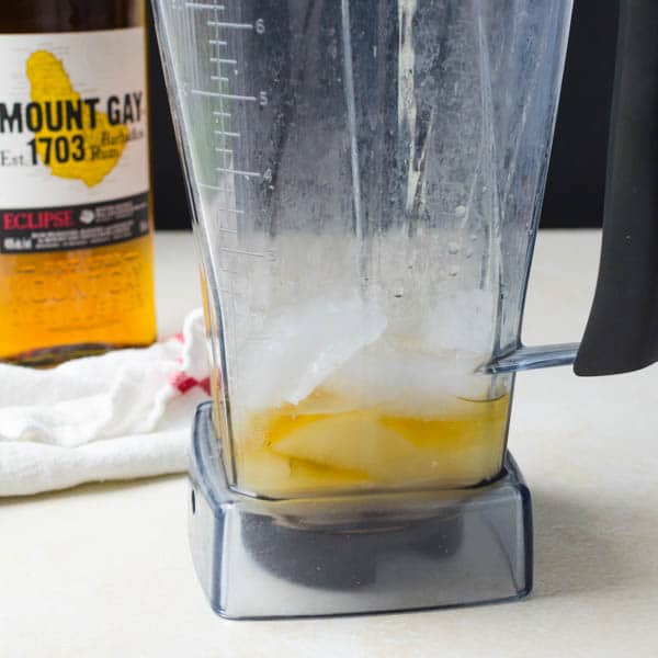 rum and ice in the blender.