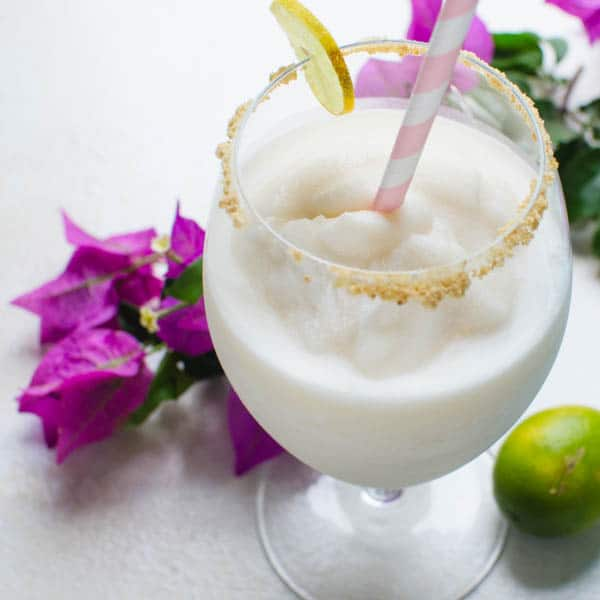 key lime colada with bougainvillea.