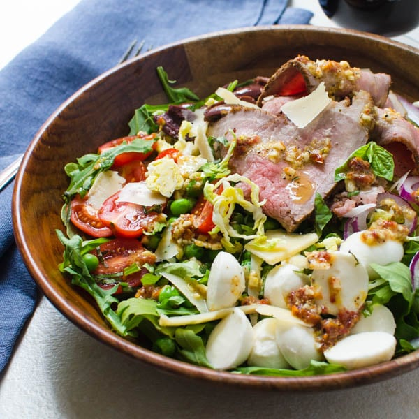 cold roast beef salad with sun-dried tomato vinaigrette.