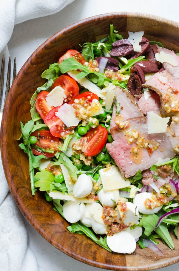 Cold Roast Beef Salad in a wooden bowl.