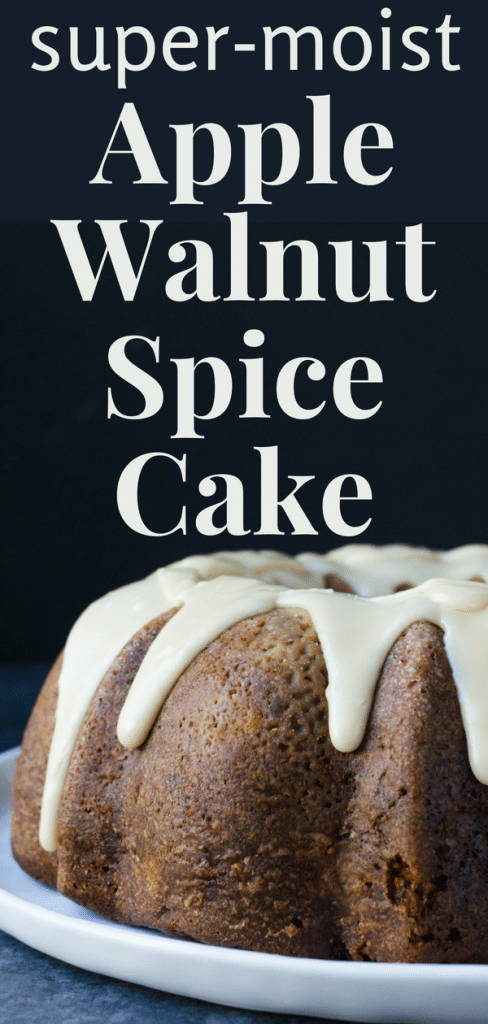 Want a richly spiced apple bundt cake recipe? A moist apple cake that's studded with fruit and nuts? This apple walnut cake with maple glaze is it! A great fall dessert. #applebundtcakerecipe #moistapplecake #applewalnutcake #mapleglaze #apples #appledessert #applecake #walnuts #walnutcake #maple #maplefrosting #crystallizedginger #goldenraisins #wholewheatflour #buttermilk #bundtcake #bundtcakerecipe #fallcakerecipe #falldessert