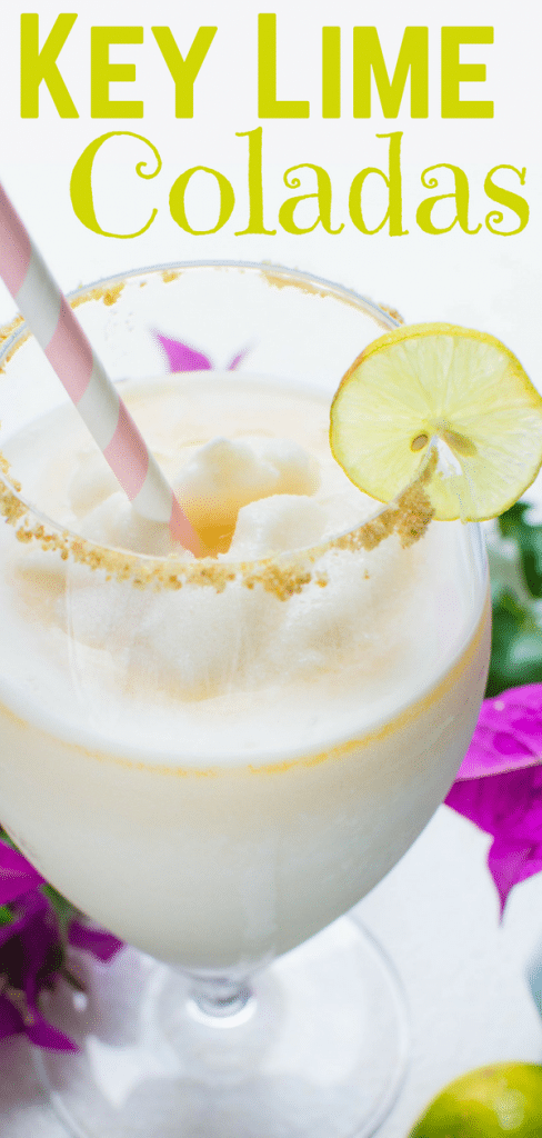 If you like frozen pina coladas & boat drinks, this key lime colada is for you. Fresh key lime juice, cream of coconut & dark rum make great blender drinks. #pinacolada #keylimes #keylimecocktails #frozendrinks #blenderdrinks #boatdrinks #cocolopez #creamofcoconut #darkrum #rum #keylimejuice, #coladarecipe, #vitamix #keylimecolada #islanddrinks #vacationdrinks #vacationcocktails #cocktails #alcoholicdrinks #rumdrinks