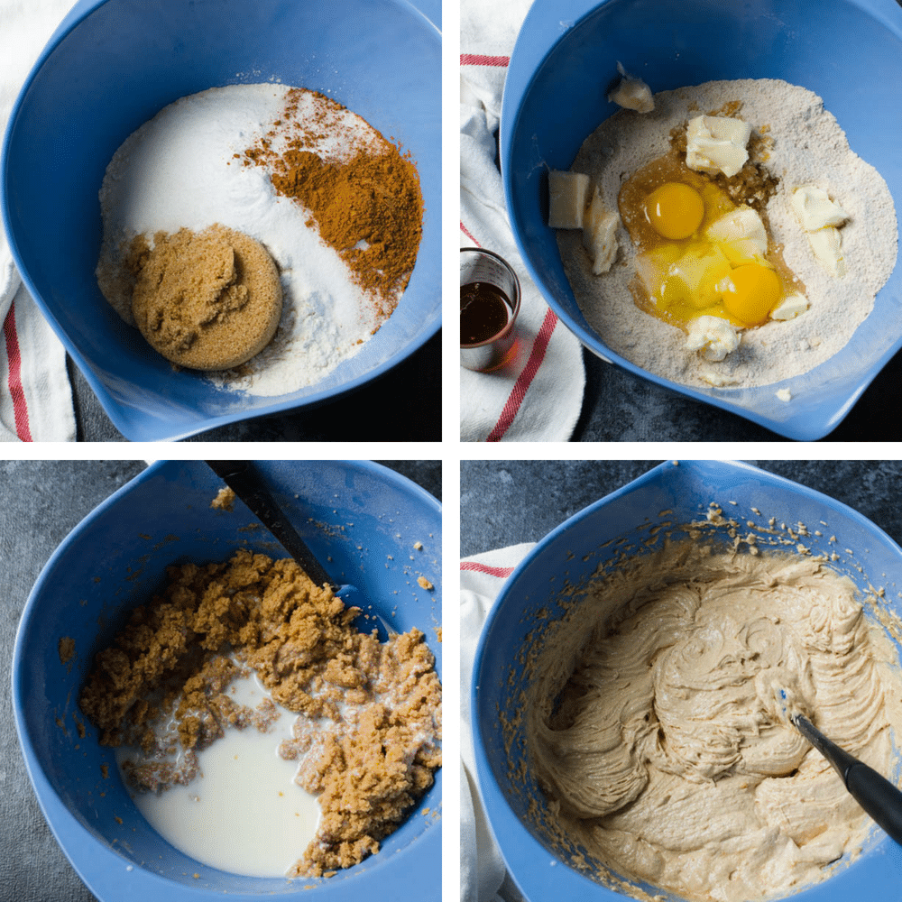 steps for making apple walnut cake batter.