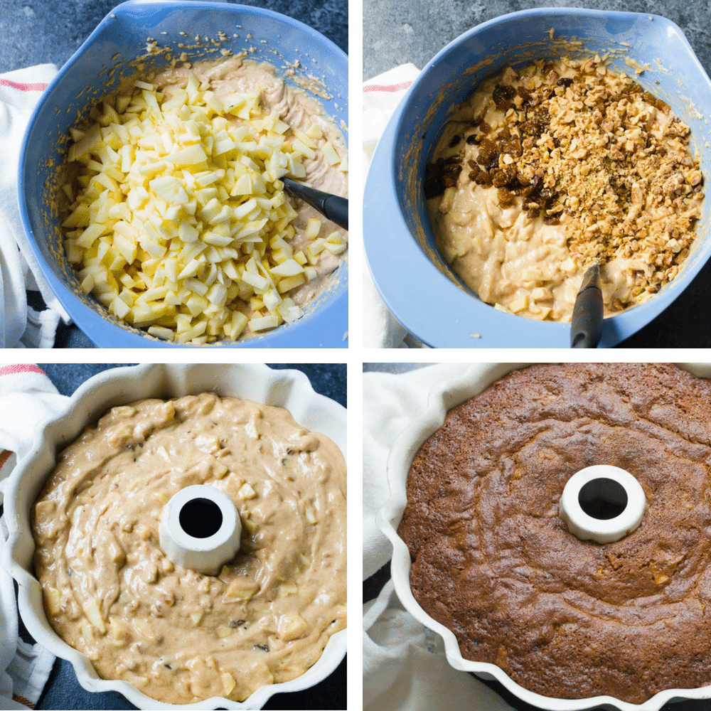 adding fruit and nuts to apple walnut cake and baking.