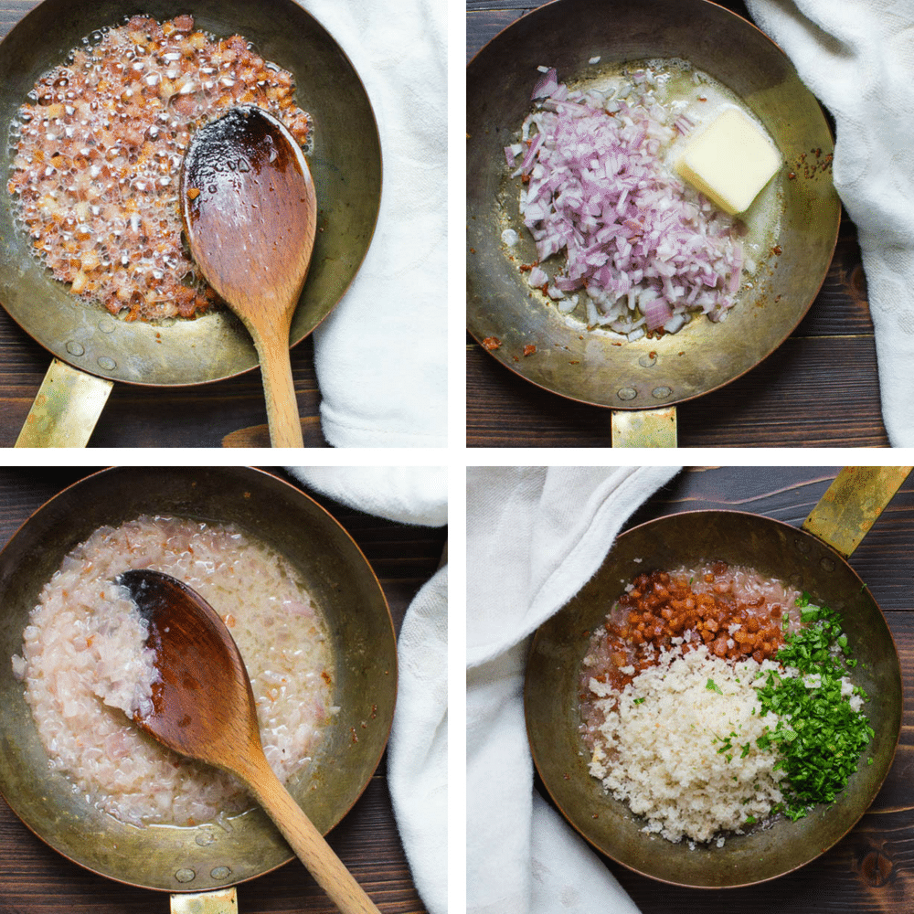 steps for making pancetta breadcrumb topping.