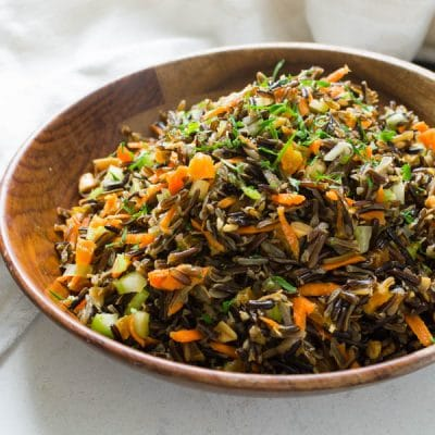 Asian Wild Rice Salad with Ginger Soy Dressing