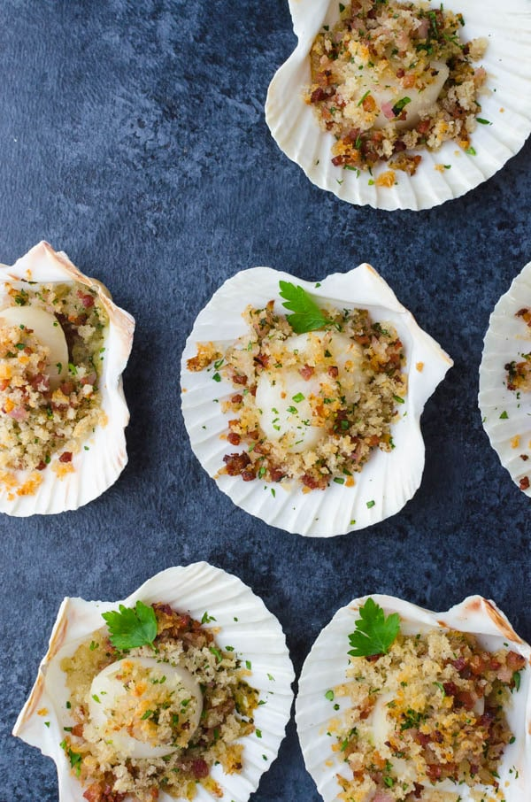 baked sea scallops in their shells.