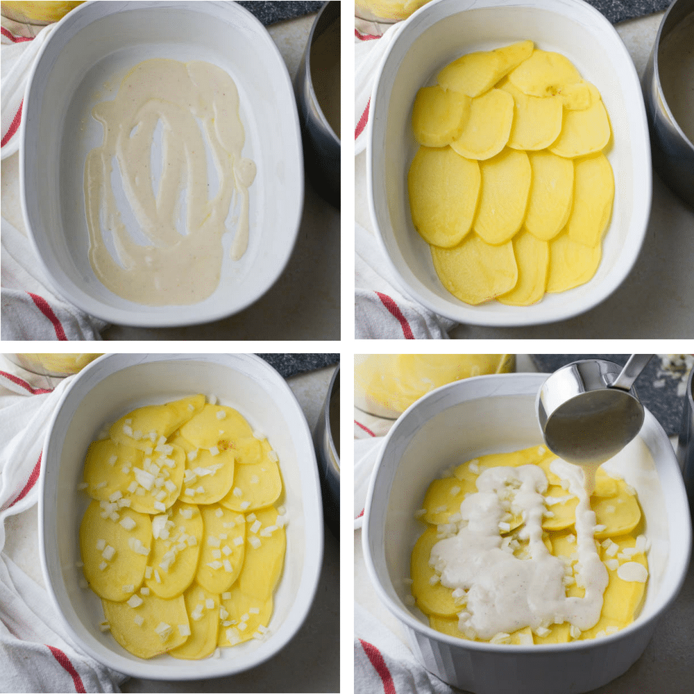 layering the Simple Scalloped Potatoes in a casserole dish for fall side dishes
