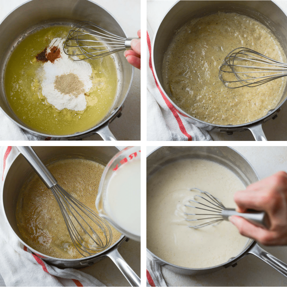 steps for making a béchamel for Scalloped potatoes vs. au gratin potatoes.
