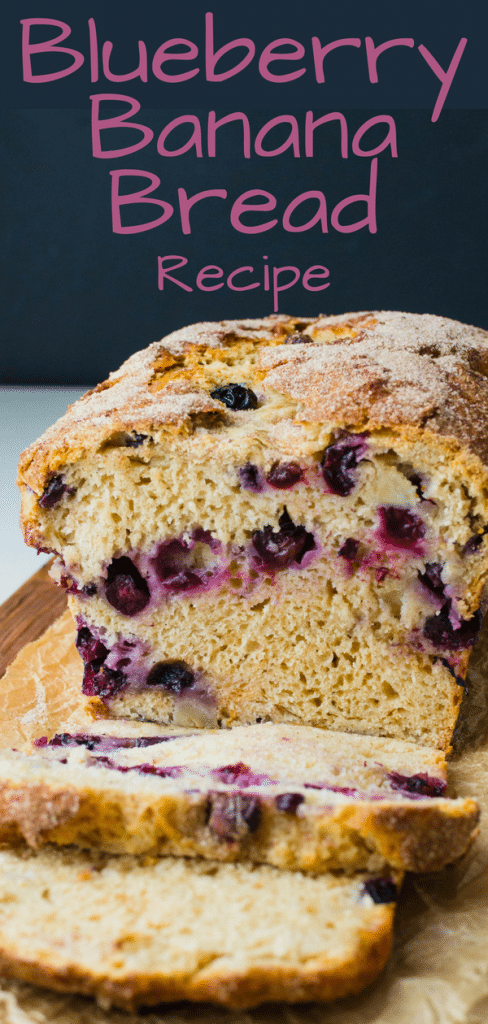 Love quick yeast breads? You'll love this healthy blueberry banana bread w/chunks of banana & blueberries, it's the best blueberry banana bread recipe. #blueberrybread #bananabread #blueberrybananabread #cinnamonbread #blueberries #bananas #yeastbread #quickbread #brunchbread #easyyeastbread #easyyeastbreadrecipe #cinnamonblueberrybreadrecipe #vegetarianbread #cinnamonsugar