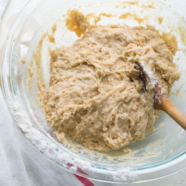 dough for blueberry banana bread recipe.