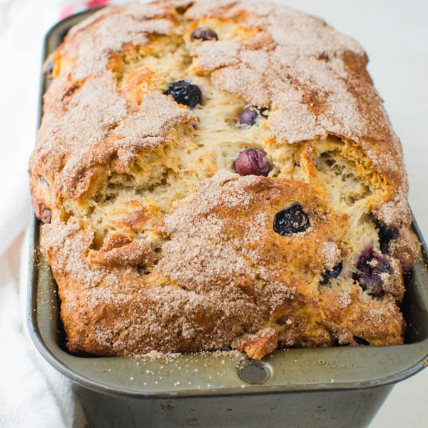 Blueberry Banana Bread recipe in a loaf pan