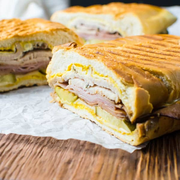 Authentic Cuban Sandwich cut into pieces.