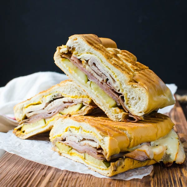 Authentic Cuban Sandwich sliced up.