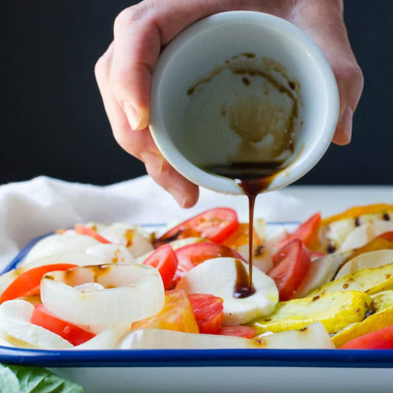 drizzling balsamic on grilled vegetables.