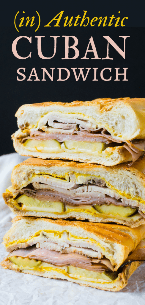 If you love a classic Cuban Sandwich, then you'll love this (in) Authentic Cuban Sandwich, w/ ham, pork, pickles, mustard, cheese & Cuban sandwich bread. #cuban #cubansandwich #cubansandwichingredients #sandwich #pickles #ham #deliham #roastpork #mustard #yellowmustard #pickles #cubanbread #cubansandwichrecipe #grilledsandwich #grilledcheese #panini #paninipress