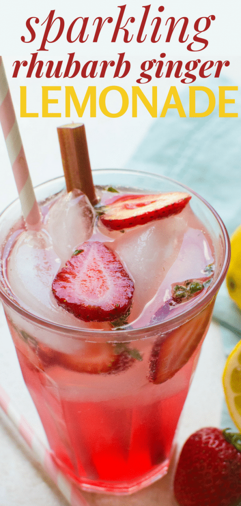 This eye-opening sparkling rhubarb ginger lemonade recipe refreshes and quenches. A blush colored simple syrup takes this flavored lemonade over the top. #easyhomemadelemonade #homemadestrawberrylemonade #rhubarblemonade #gingerlemonaderecipe #sparklinglemonade #summerdrinks #nonalcoholicdrinks #mocktails #mocktail #lemonademocktail #lemons #rhubarb #ginger #clubsoda #sparklingwater #simplesyrup