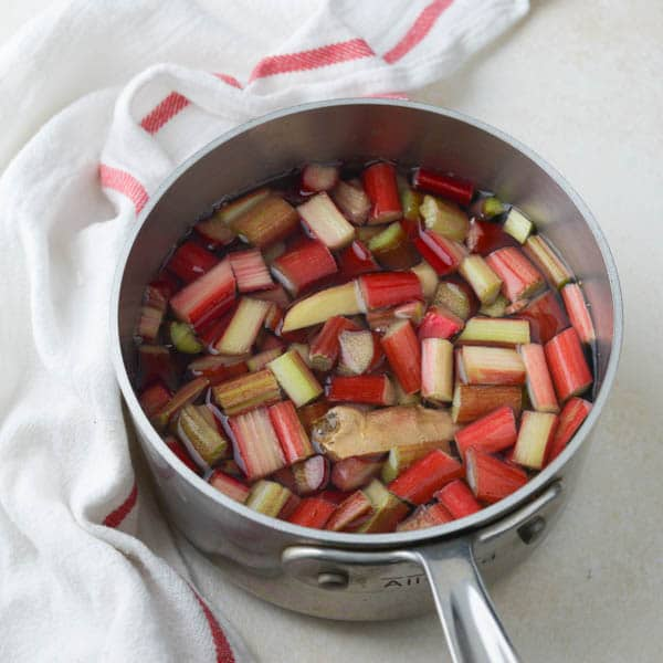 rhubarb, ginger, water and sugar in a saucepan.