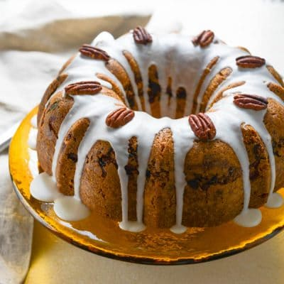 Sour Cream Bundt Cake with Spiced Apricot Pecan Filling