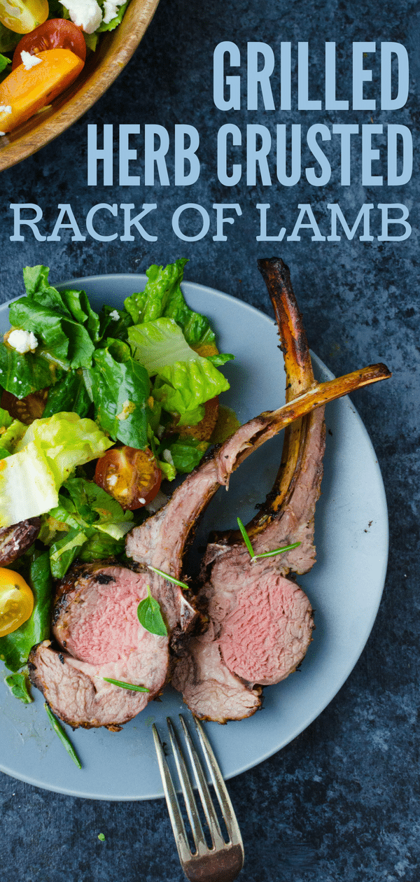 Grilled Herb Crusted Rack of Lamb is an easy lamb recipe with a savory herb garlic marinade. Find out how to grill rack of lamb so it's perfect every time. #rackoflamb #grilledrackoflamb #marinadeforrackoflamb #lambmarinade #grilledlamb #cookinglambongrill #rosemary #garlic #oregano #mint #lemon #lemonzest #howtocooklamb #marinadeforlamb #easylambrecipe #howtogrillrackoflamb #howtogrilllamb #howtomakemarinade #marinaderecipe #garlicmarinade #herbmarinade