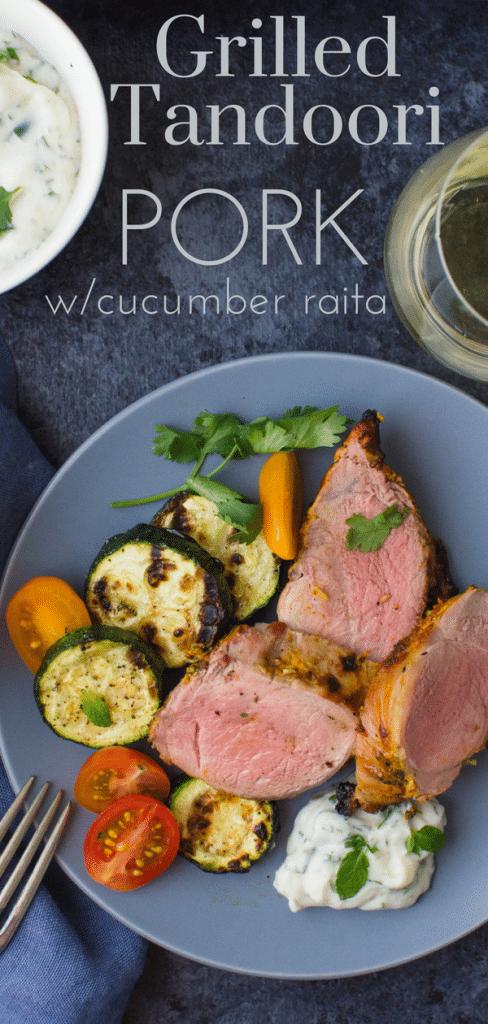 Step up dinner with Tandoori Marinated Grilled Pork. A spicy tandoori marinade adds Indian flavors to tender pork. Try this yogurt marinade w/chicken too. #tandoori #tandoorichicken #tandooripork #marinade #yogurtmarinade #grillingrecipes #indianmarinade #indianfood #grilledpork #grilledporktenderloin #porktenderloinrecipe #raita #tzatziki #cilantro #yogurt #garlic #lemon #cumin #paprika #cinnamon #cloves
