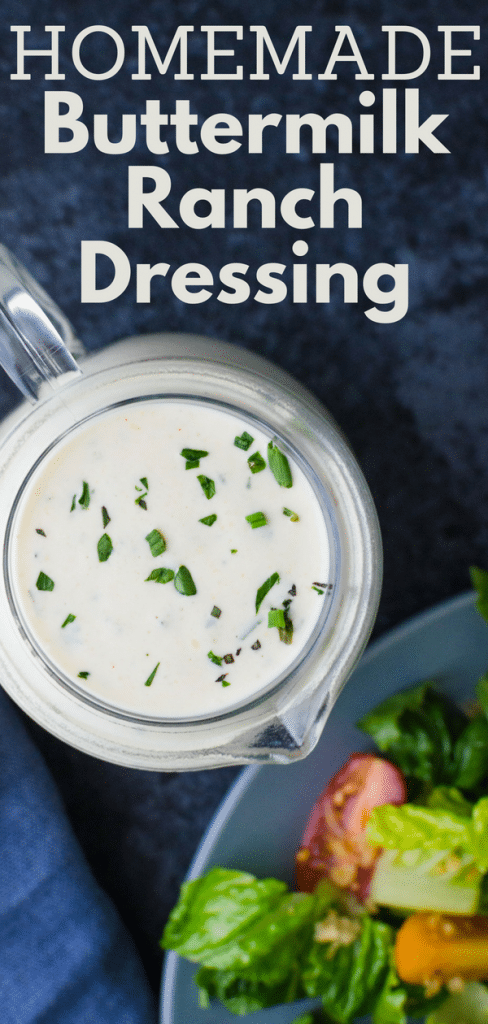 If you love ranch salad dressing, here's an easy ranch dressing recipe that's better than ranch dressing from a packet. Homemade Buttermilk Ranch Dressing is way better than store bought. #ranchdressing #ranchdressingrecipe #homemaderanchdressing #homemadesaladdressing #buttermilkdressing #buttermilkherbdressing #homemadedressing #buttermilk #mayonnaise #tarragon #oregano #chives #parsley #lemon #onionpowder #garlicpowder #
