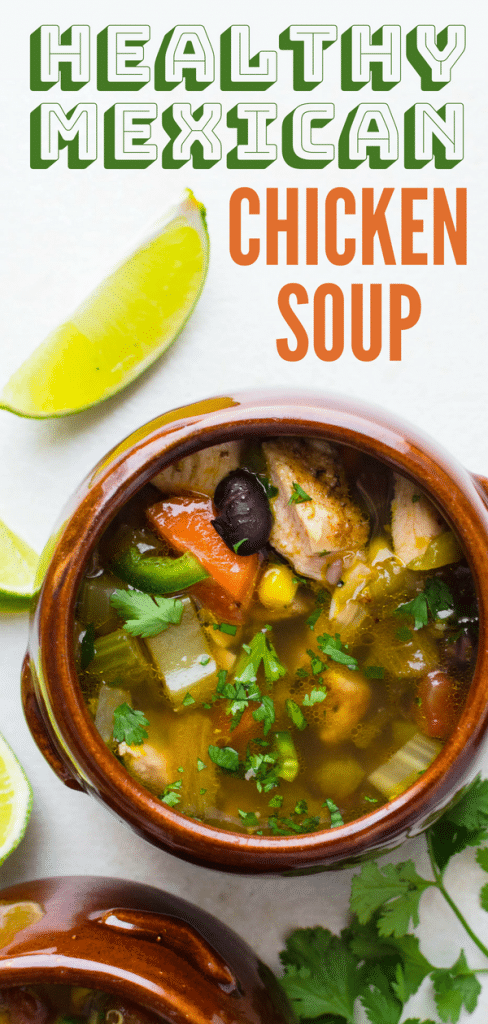 Healthy chicken soup recipes can be boring -- not this Southwestern chicken soup - with peppers, vegetables & spices, this chicken quinoa soup is a winner! #chickenquinoasoup #healthychickensouprecipe #southwesternchickensoup #southwesternrecipe #southwesternchicken #hatchchiles #corn #blackbeans #jalapenos #quinoa #chickenbroth #chickensoup #homemadechickensoup #chickensoupfromscratch #chickenvegetablesoup #chickenandvegetablesoup