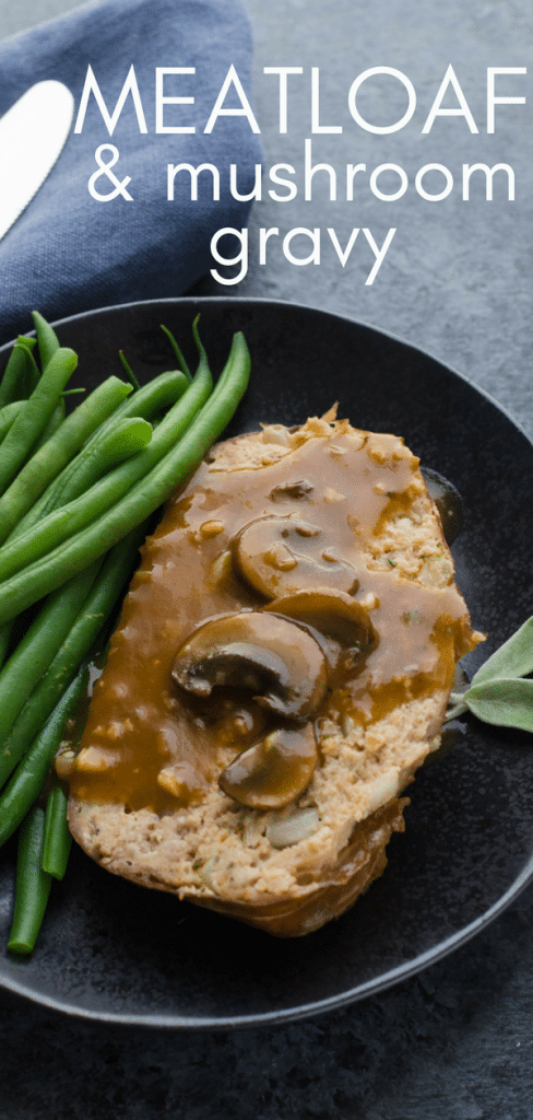 Same comfort food vibe as traditional meatloaf, but this homemade meatloaf recipe has 2 meats & fresh herbs & spices. Meatloaf with mushroom gravy is TOPS! #veal #pork #meatloaf #meatloafrecipe #homemademeatloaf #mushroomgravy #meatloafwithmushroomgravy #comfortfood #familydinnerrecipes #sage #sagemeatloaf #prosciutto #prosciuttowrappedmeatloaf #fancymeatloaf #companymeatloaf #pate #bestmeatloaf