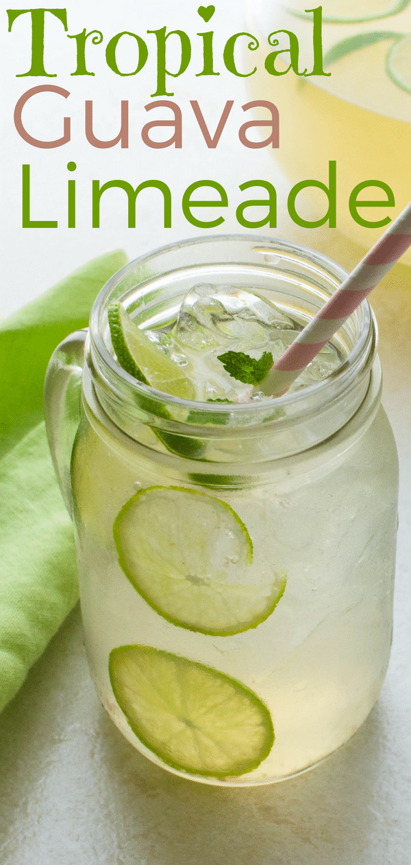 Learn how to make limeade from scratch, then put a tropical twist on a summer mocktail by adding guava syrup for a tart guava drink that refreshes. #guava #lime #limeade #mocktail #summermocktail #pitcherdrinks #pitcher #nonalcoholic #flavoredlimeade #guavasyrup #vanillasyrup #vanillasimplesyrup #simplesyrup #guavalimeade #sparklingwater #stillwater #springwater #summerdrinks #kidsdrinks #kiddiecocktail