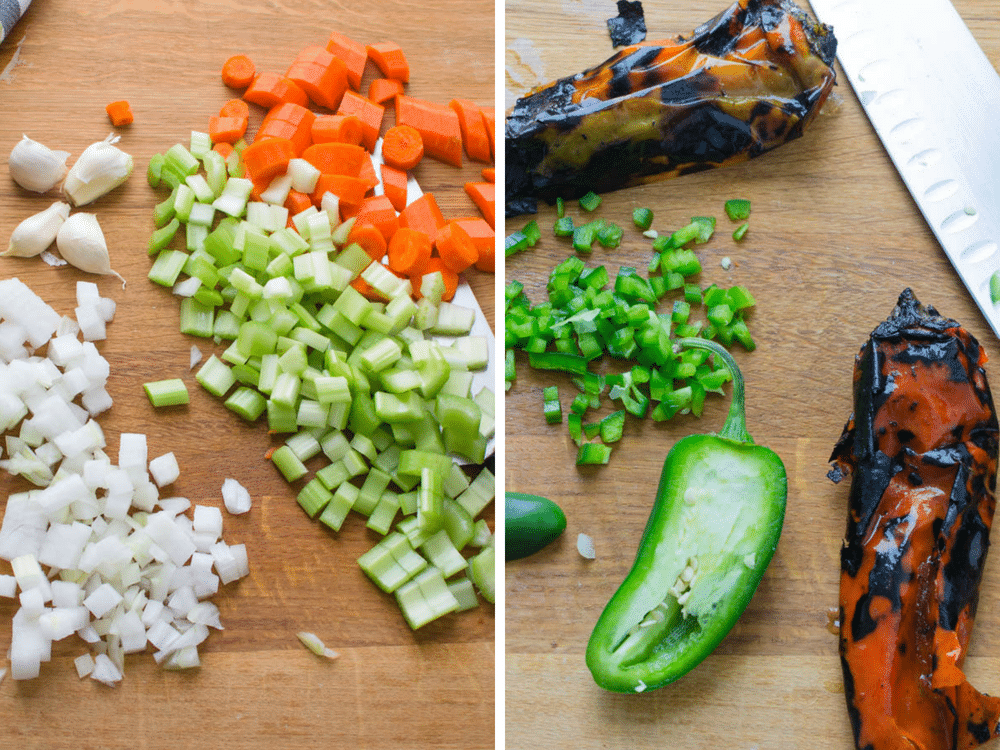 chopping vegetables and peppers for Southwestern Chicken Quinoa Soup