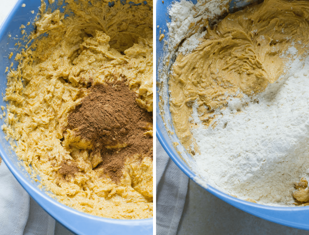 adding homemade pumpkin pie spice to pumpkin blondies