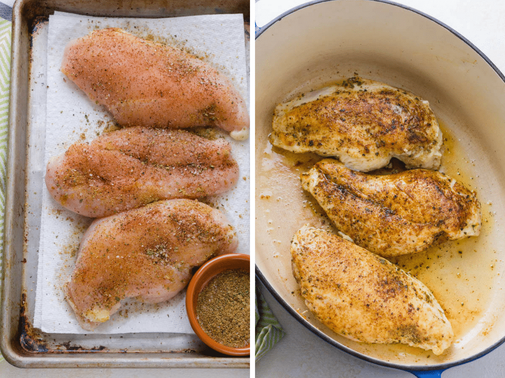seasoning and searing the chicken breasts.