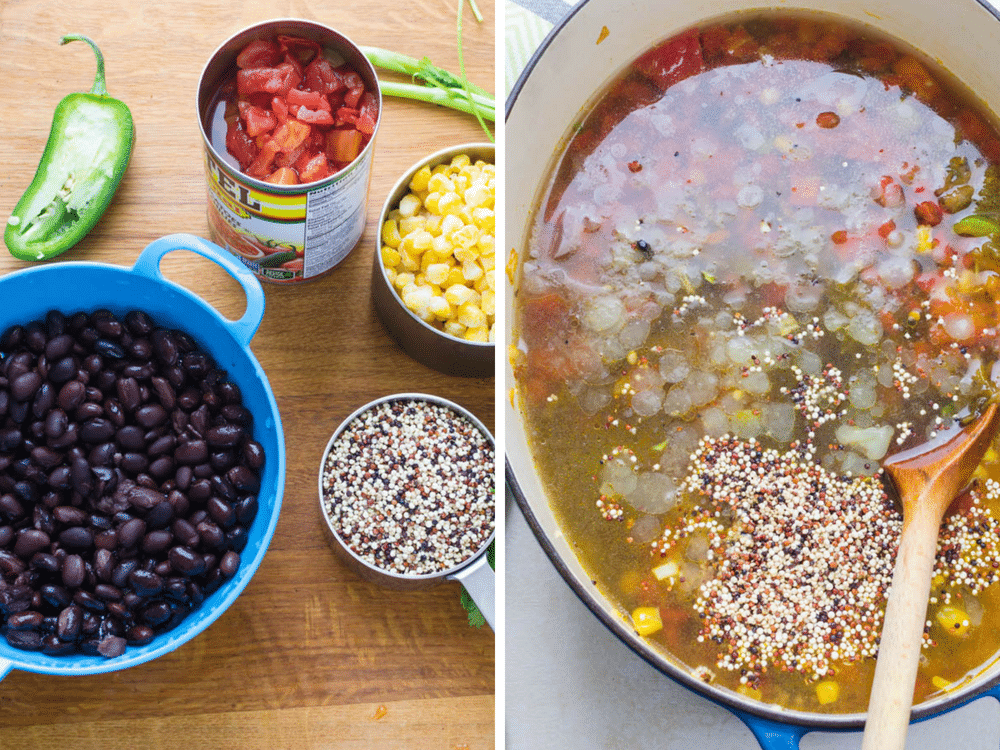 adding black beans, tomatoes, quinoa and corn to Southwestern Chicken Quinoa Soup