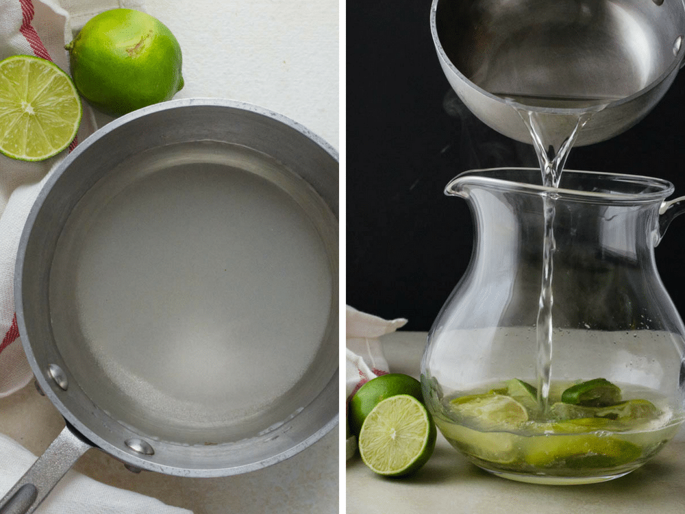 making simple syrup for limeade.