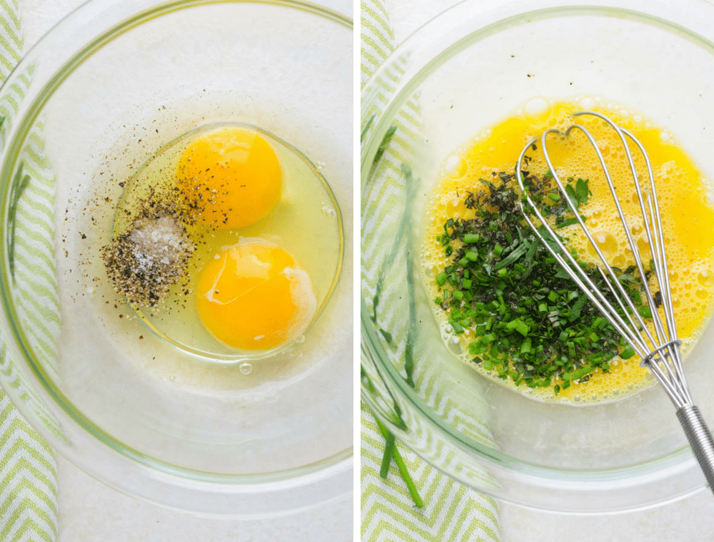 whisking eggs and herbs.