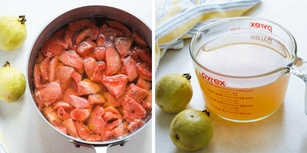 making guava simple syrup.