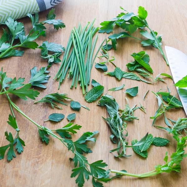fresh herbs for Homemade Buttermilk Ranch Dressing
